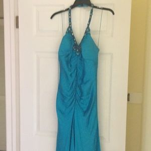 Beautiful turquoise prom dress with bead detail